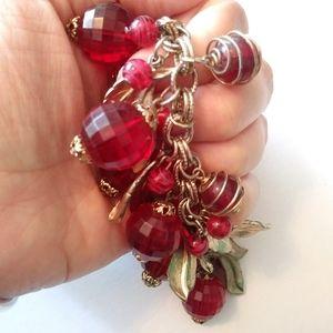 Vintage Jewelry - Vintage 50s cherry red lucite dangl charm bracelet